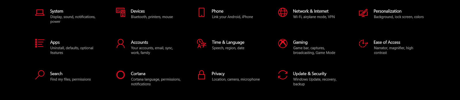 Notifications & Actions options.