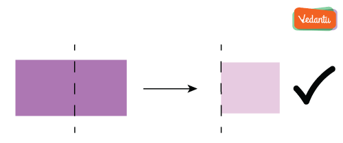 Folding of rectangle along verticle line