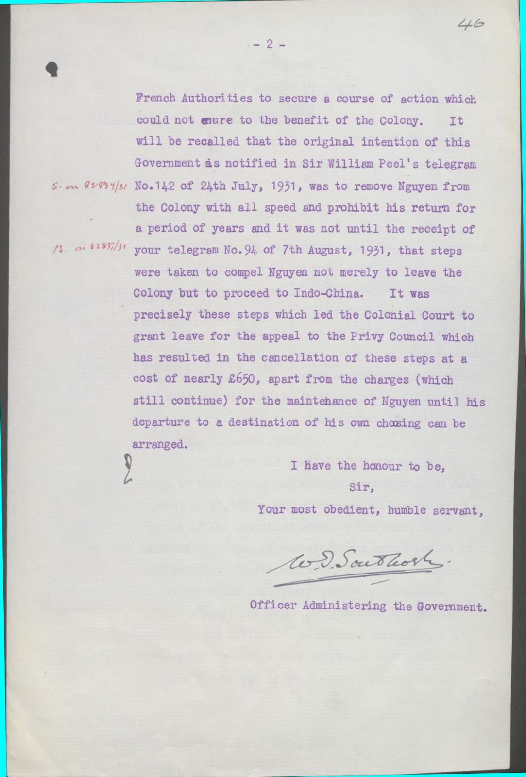Thư của chánh quyền Hồng Kông gởi Bộ Thuộc địa 13-10-1932 (trang 2).jpg