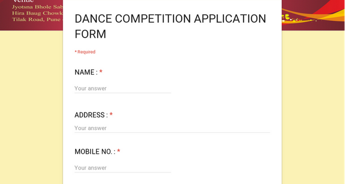 Dance Competition Application Form