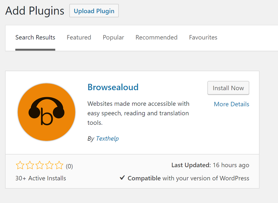 Browsealoud Add Plugins window