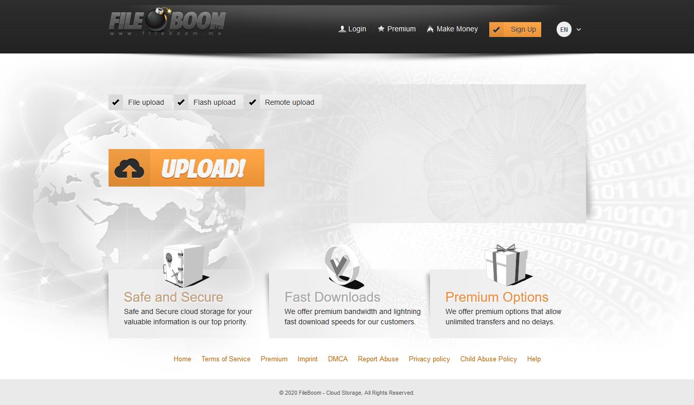 The Fileboom File Hosting Platform Domain Website