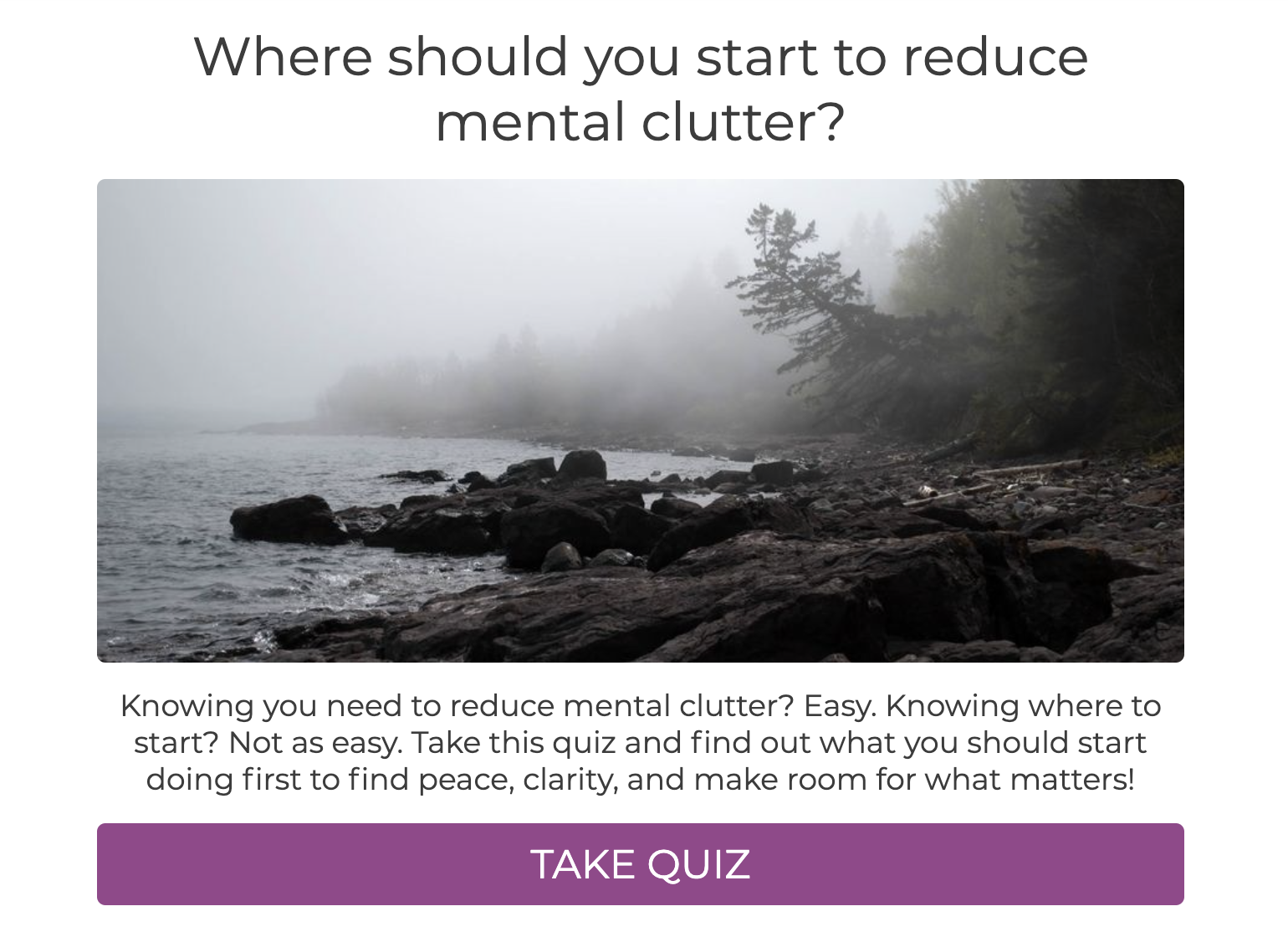 Where should you start to reduce mental clutter quiz cover