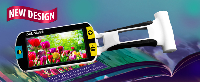 "The Pebble HD 4.3"" Hand-Held Magnifier is pictured. This hand-held magnifier magnifies items on a 4.3"" screen."