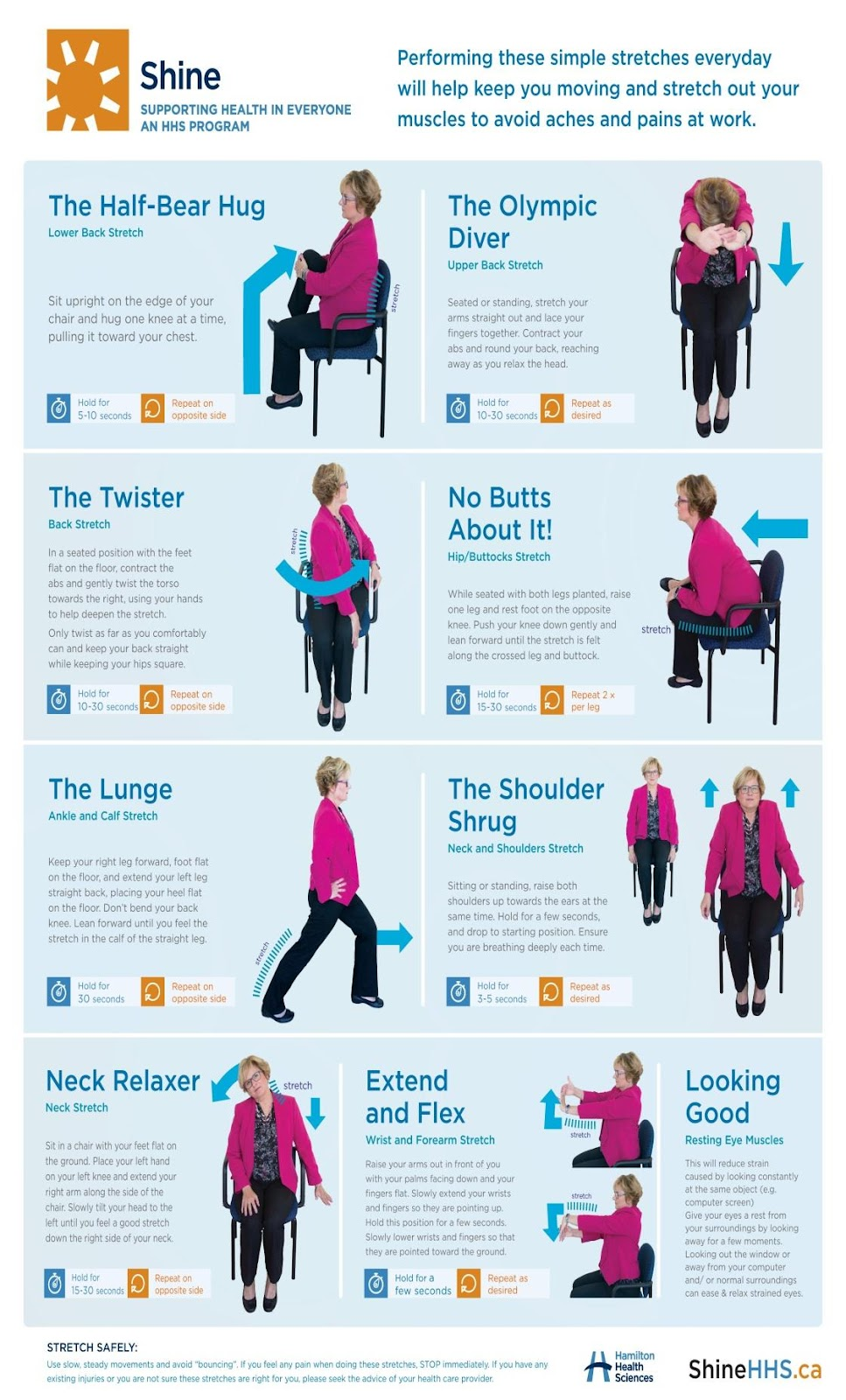 an infographic depicting different stretches you can do at your desk