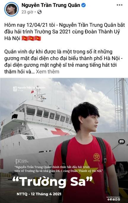 """Giữa """"tâm bão"""" chủ quyền đất nước, Nguyễn Trần Trung Quân đại diện đại biểu thủ đô Hà Nội mang tiếng hát tới Trường Sa."""