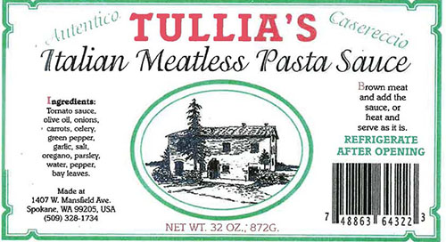 Label, Tullia's Italian Meatless Pasta Sauce, 32 oz.