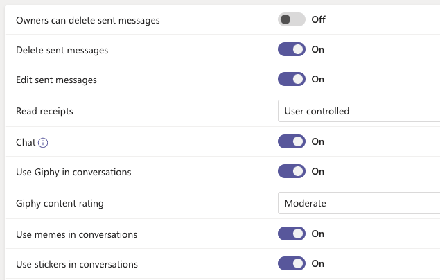 Turn on chat in Microsoft Teams