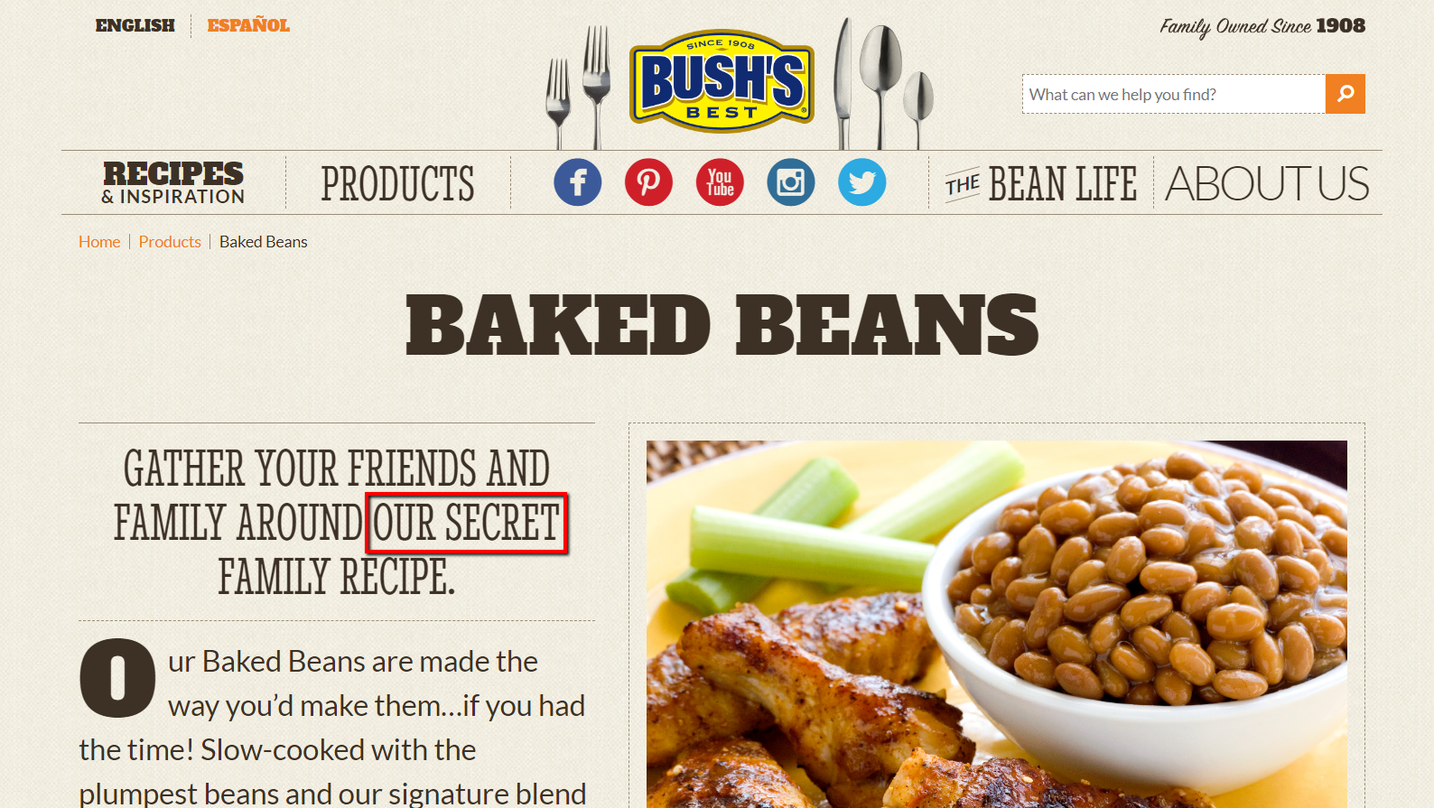 bush's baked beans promoting their secret recipe on their homepage.