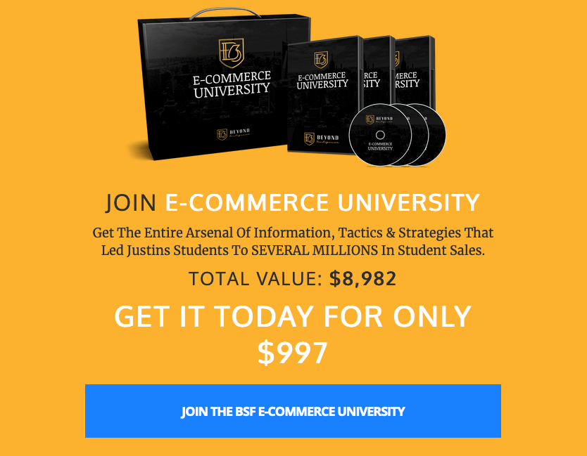 Justin Woll ecommerce university sales page with $997 price tag