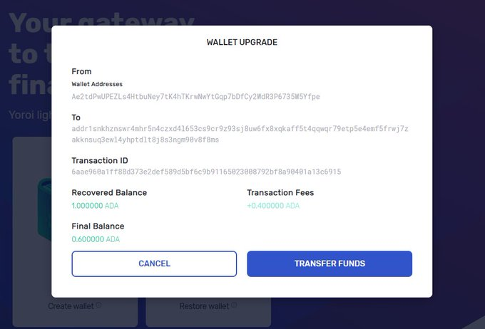 Screengrab of a wallet upgrade transaction in the new version of Yoroi