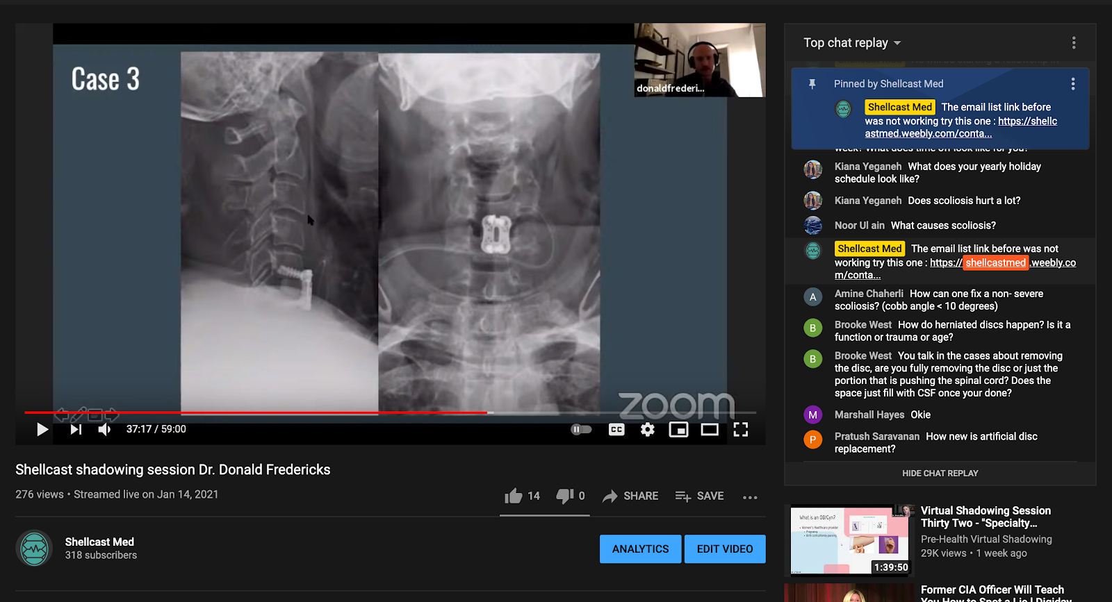 Zoom example of Pre-Medical Students looking at a case
