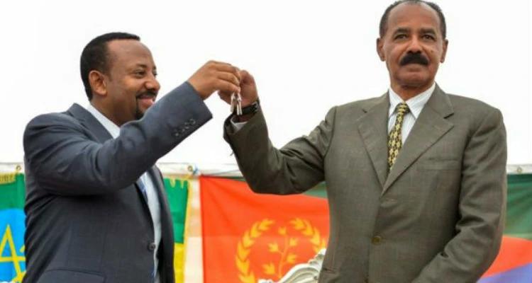 Acordo de paz entre a Etiópia e a Eritreia: Ahmed Ali e Isaias Afwerki, presidente da Eritreia.