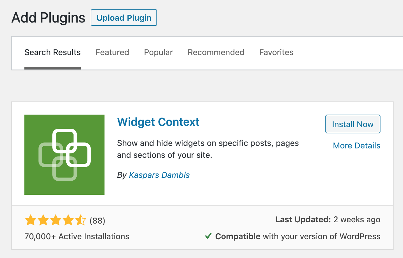 display or hide widgets on selected pages