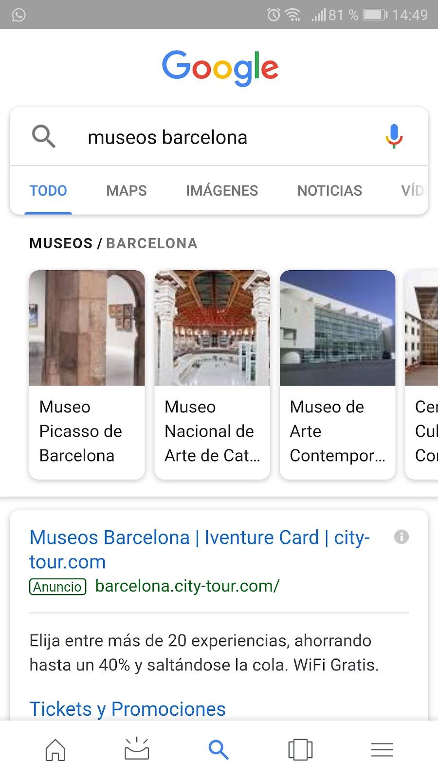 Ejemplo de búsqueda con dispositivos de la web móvil