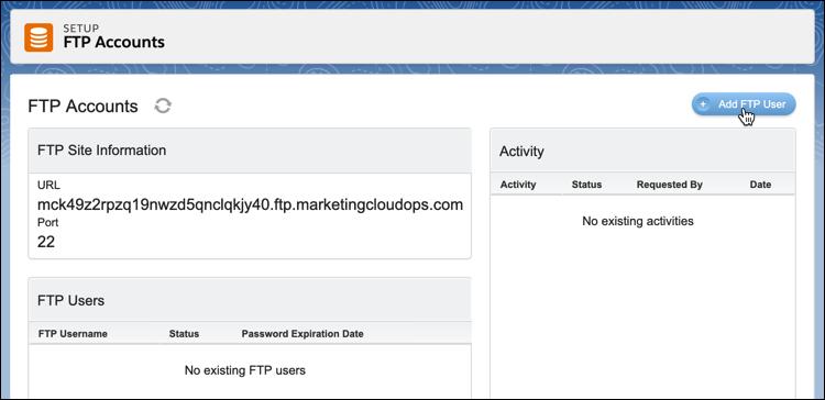 Add FTP User in FTP Account setup