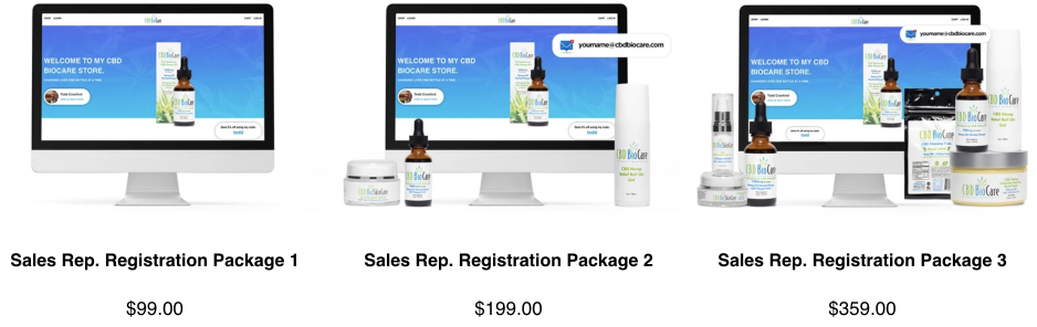 Image of CBD BioCare's Sales Rep Registration Packages and prices