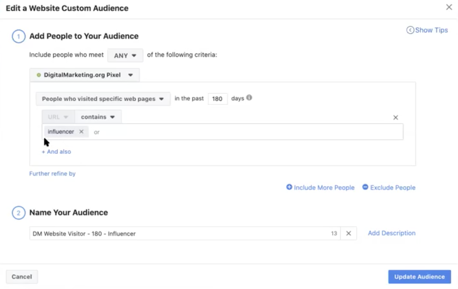 how to create a custom audience example