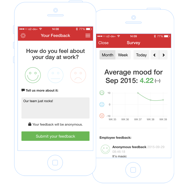 Employee Engagement feedback tools in the employee app
