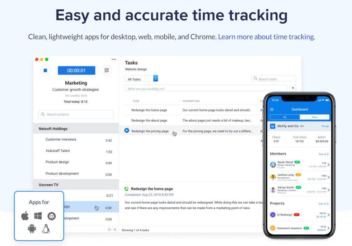 Hubstaff is the top time management app in the market.