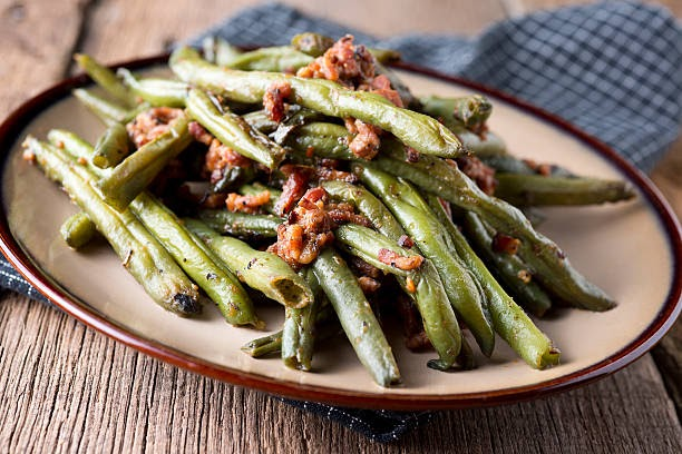 Green Beans Bacon Green Bean and Bacon Appetizer green beans bacon stock pictures, royalty-free photos & images