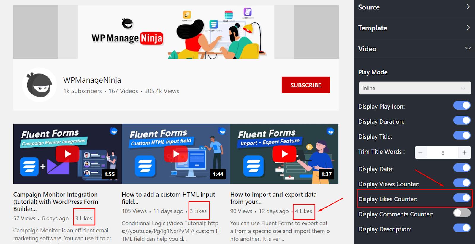 YouTube settings display likes counter