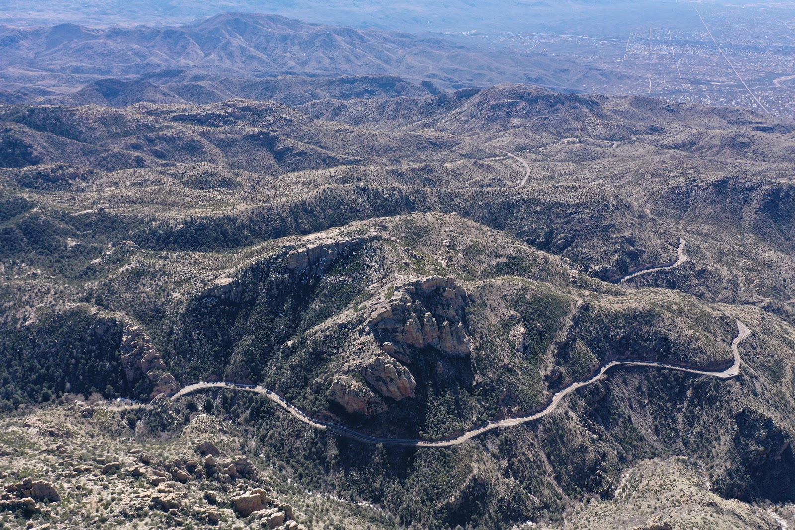 Cycling Mt. Lemmon - aerial drone photo of miles 4-10.