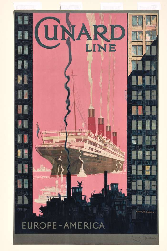 Kenneth Shoesmith, Cunard Line, Europe, America, 1929, color lithograph. Gift of the estate of Francis B. C. Bradlee, 1928, M11215. © Peabody Essex Museum