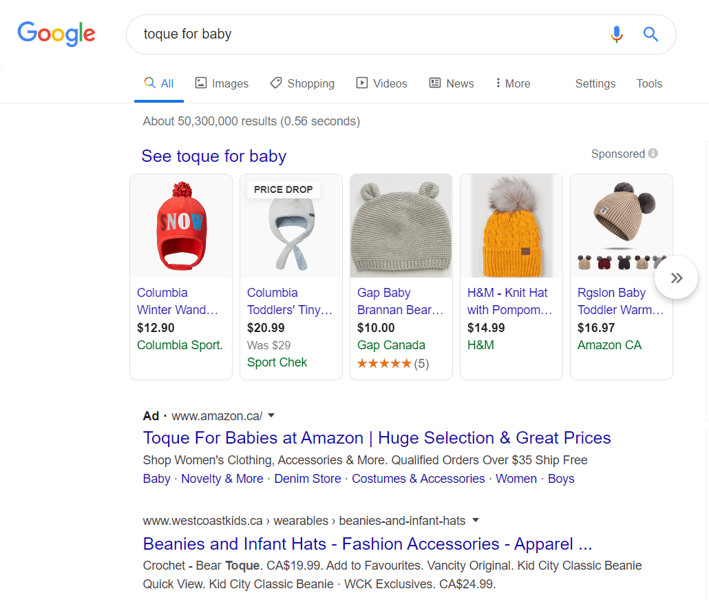 "Google search for ""toque for baby"""