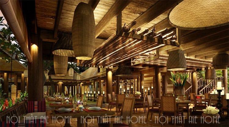 Mẫu thiết kế nội thất nhà hàng tre