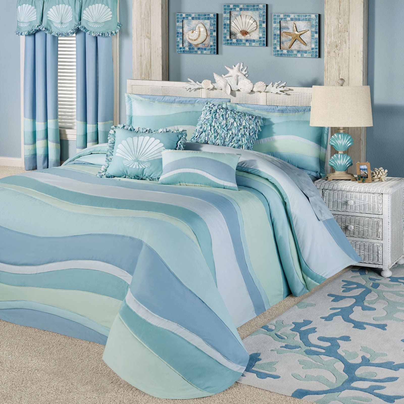 Beach Themed Bedroom with Bedding Sets