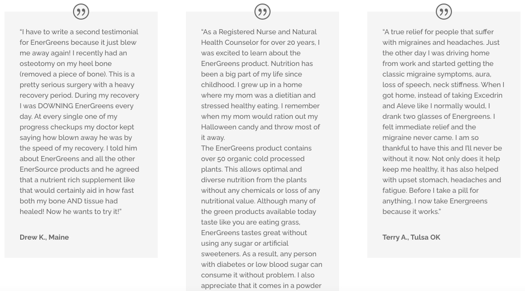 Image of 3 testimonials on EnerSource's website on the products