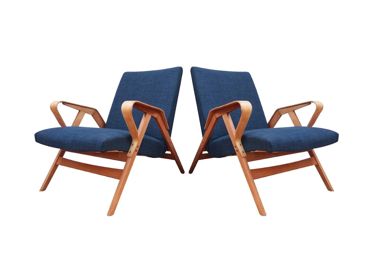 Mid\century armchairs in classic blue