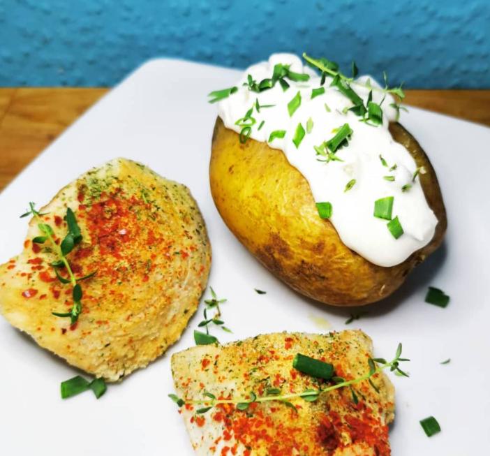 creme fraiche on potatoes