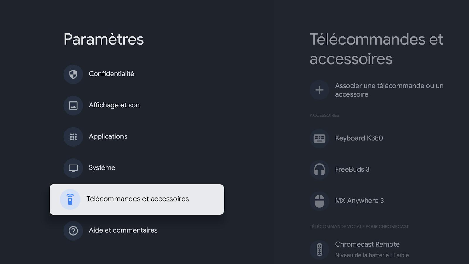 Accéder aux paramètres Bluetooth de Google TV