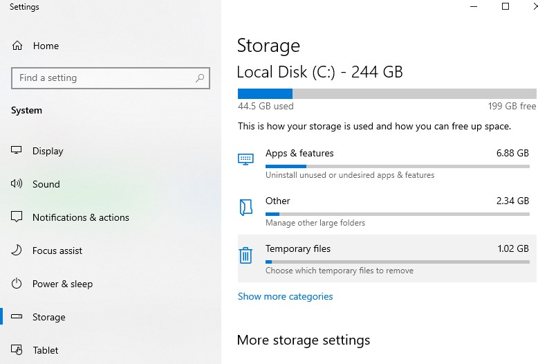 Return to the Storage settings window. Select Temporary files from the drop-down menu.