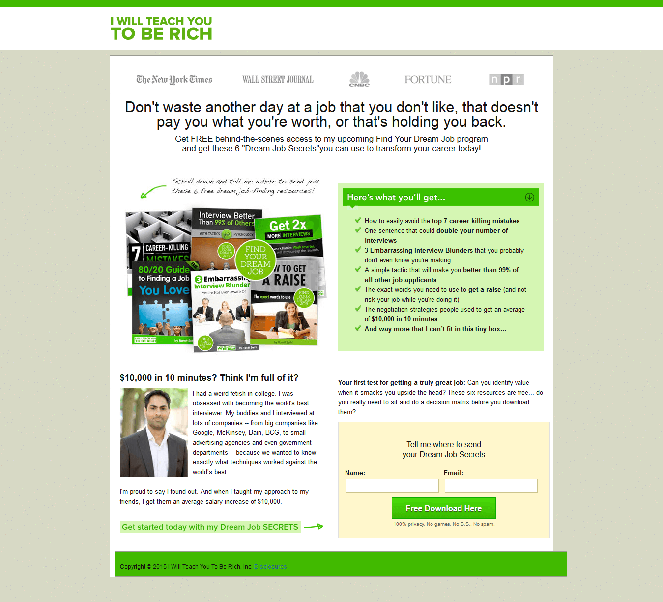 I Will Teach You to be RIch Sales Page Example