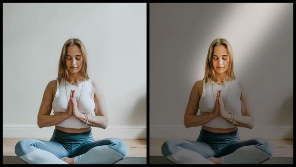 Montagem de duas fotos usando a mesma mulher com roupas de exercício e meditando em casa. Foto 1 sem edições e foto 2 usando o Filtro Mysterious