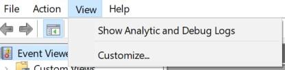 select Show Analytic and Debug Logs
