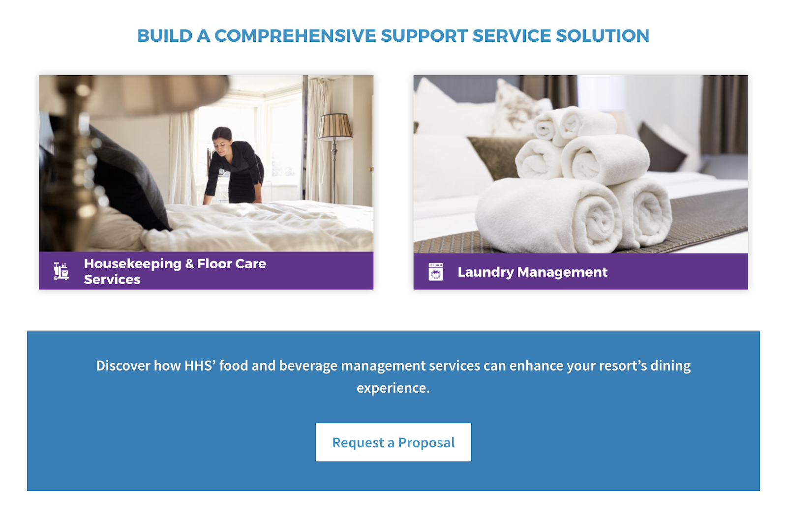 Service line page layout features internal links to explore all options available to their industry