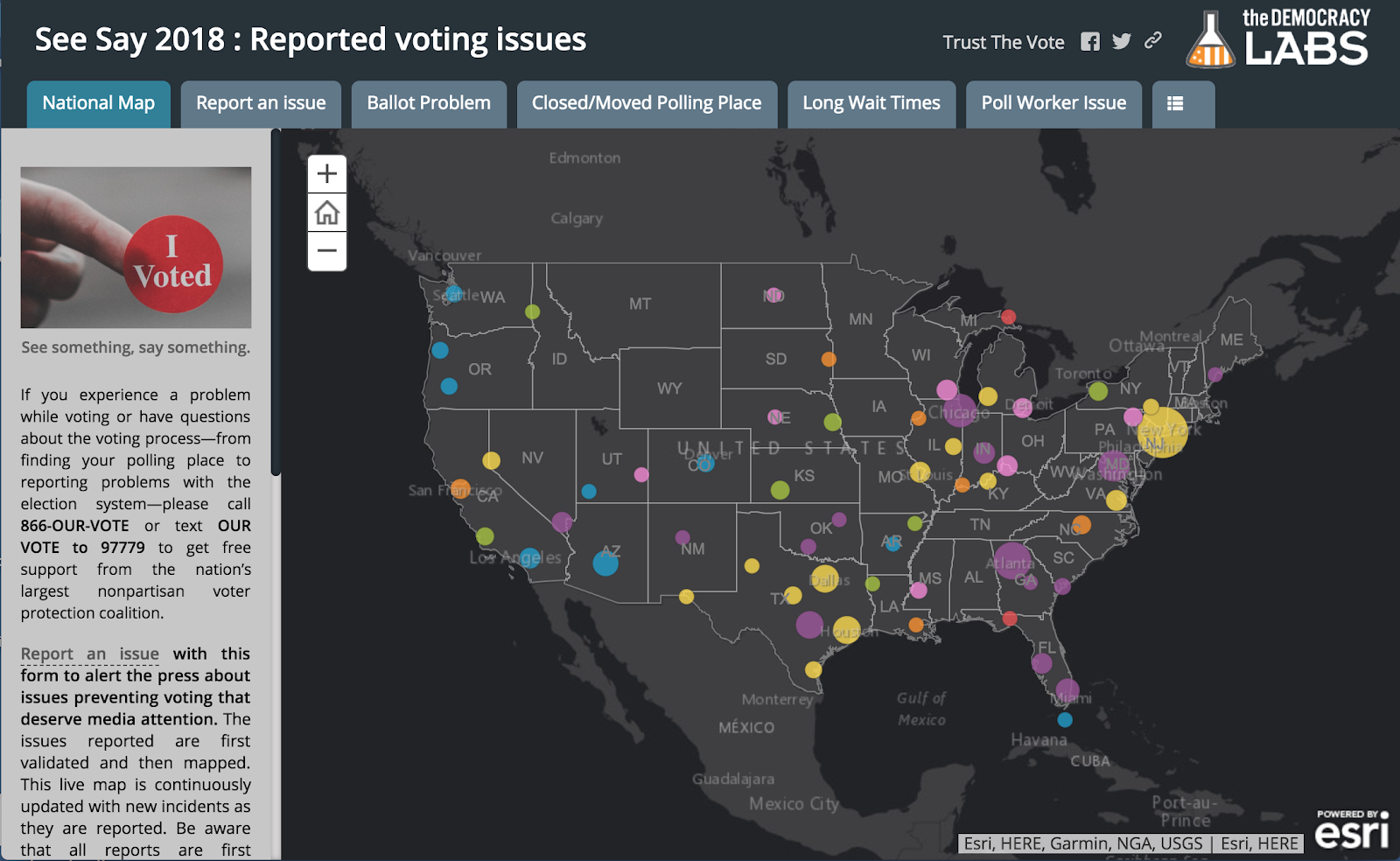 ArcGis Map showing voting issues