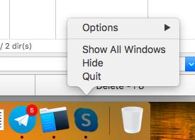 "A menu view without the pressed ""Alt"" key - Mac"