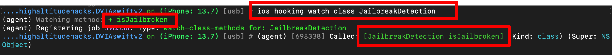 ios hooking watch class JailbreakDetection