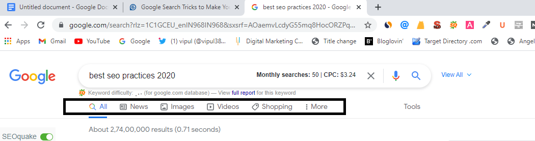 This image shows how to use Google search tab to get search results quickly