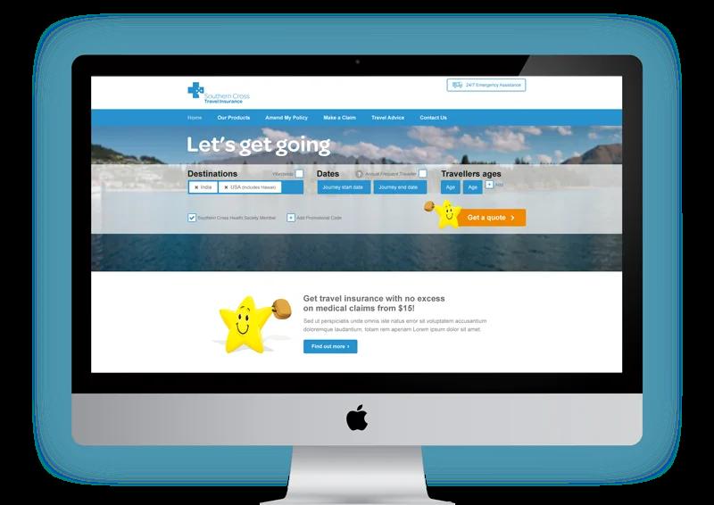 Southern Cross Travel Insurance Website on an iMac