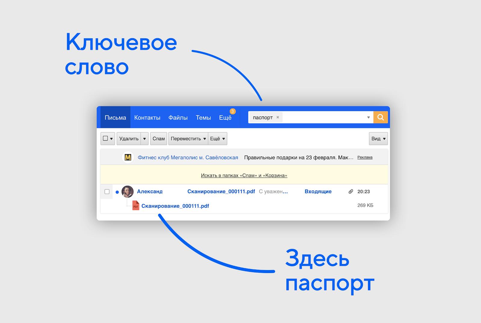 поиск по сканам документов в Почте Mail.ru