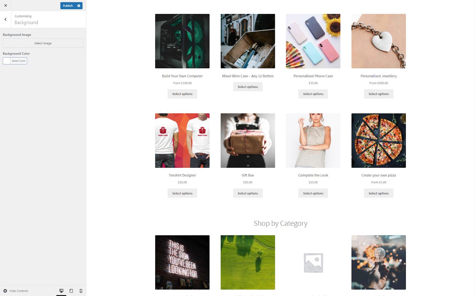 Default Storefront Background Customisation