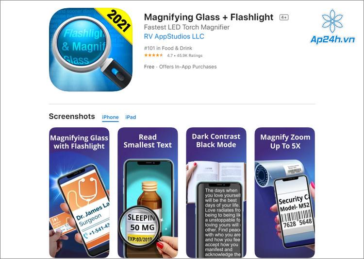 Ứng dụng đèn pin và kính lúp trên iOS