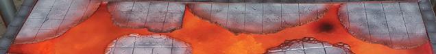 Lava coloured board, with grey broken floor tile segments.