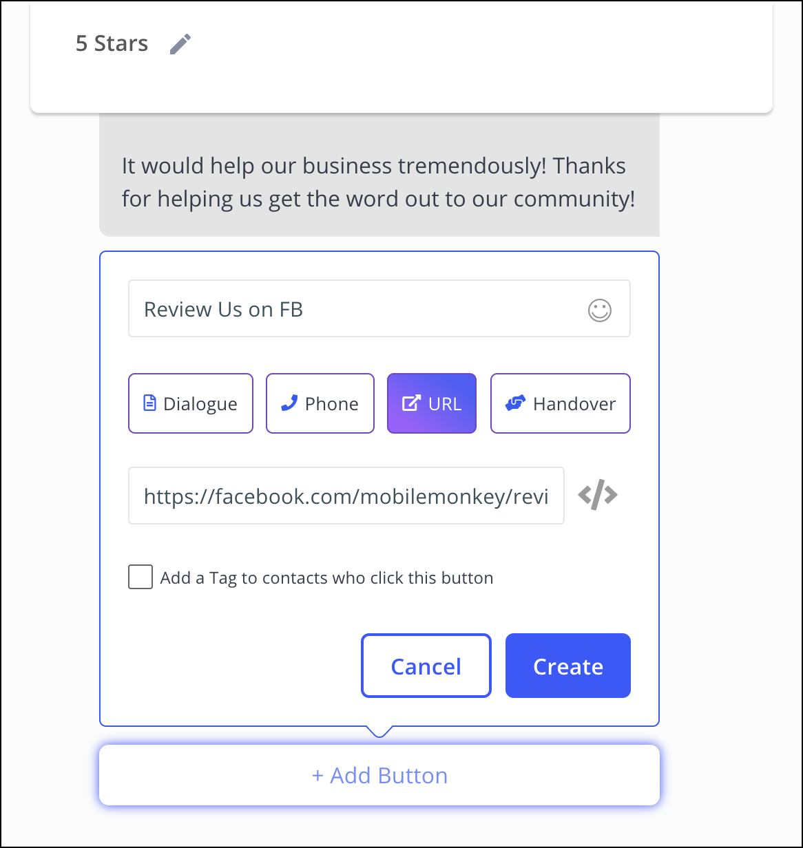 add the button that links to reviews on facebook